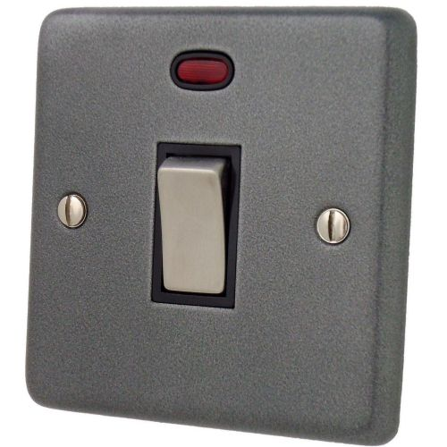 G&H CP326 Standard Plate Pewter 1 Gang 20 Amp Double Pole Switch & Neon